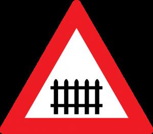 Bahnübergang mit Schranken straßenzeichen