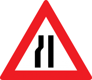 Fahrbahnverengung (linksseitig) straßenschild