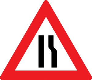 Fahrbahnverengung (rechtsseitig) straßenschild