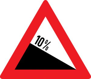gefährliches Gefälle 10% straßenzeichen