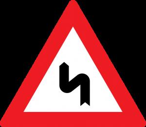 gefärliche doppelkurve links beginnend straßenzeichen