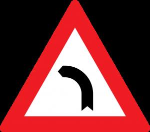 gefärliche links Kurve straßenzeichen