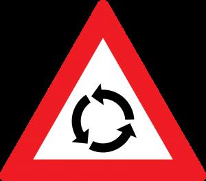Kreuzung mit Kreisverkehr straßenzeichen
