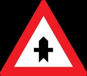 Kreuzung mit Straße ohne Vorrang straßenzeichen