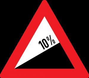 starke Steigung 10% straßenzeichen